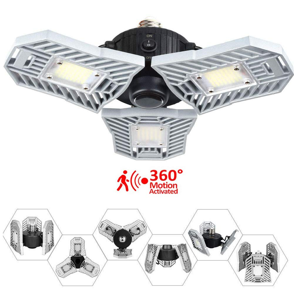 Led Garage Lights,60W E26/E27 6000LM with Motion Activated Sensor Ceiling Lighting, Led Light Bulbs Fixtures for Full Area,Warehouse,Gym,Cellar