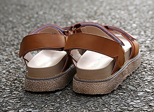 Plateforme Confort Scratch Ouvert Brun 43 Bout Sandales Taille Plates Femmes 40 PU Cuir Grande wealsex q8w0Xz1p8