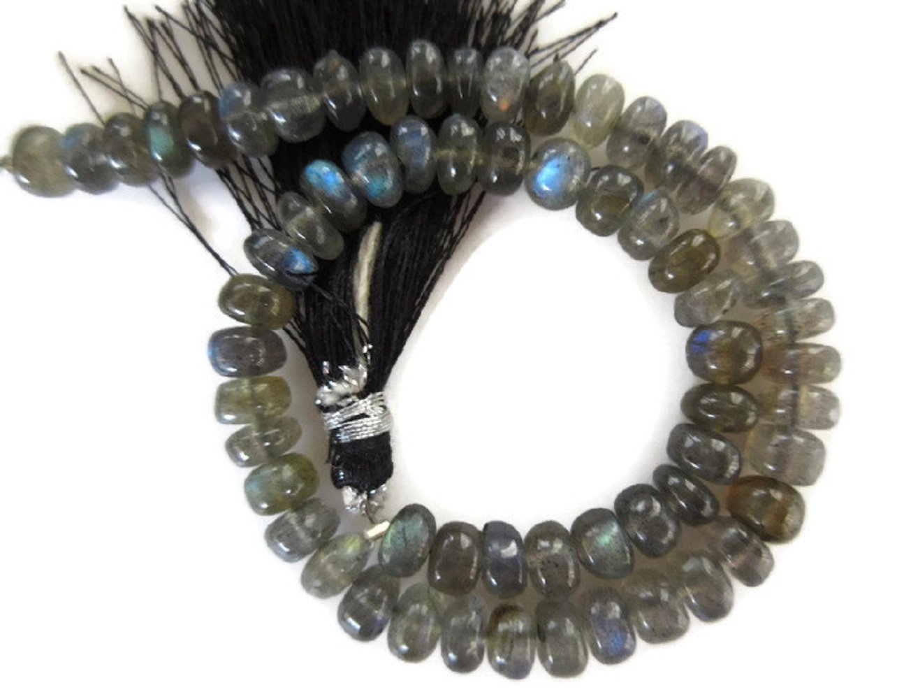 AAA Natural Labradorite Smooth Rondelle Beads, 6mm Labradorite Beads, Labradorite Jewelry, GDS961 (10 Inch x 5 Strands)