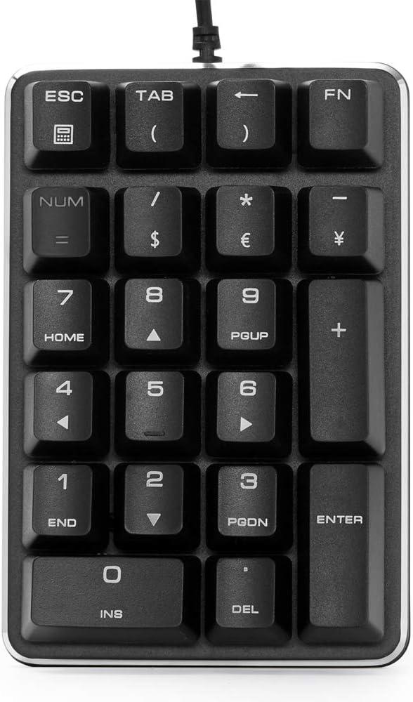 Teclado numérico USB, Teclado numérico mecánico USB con Cable, con interruptores Marrones, Teclado numérico para Ordenador de sobremesa o portátil
