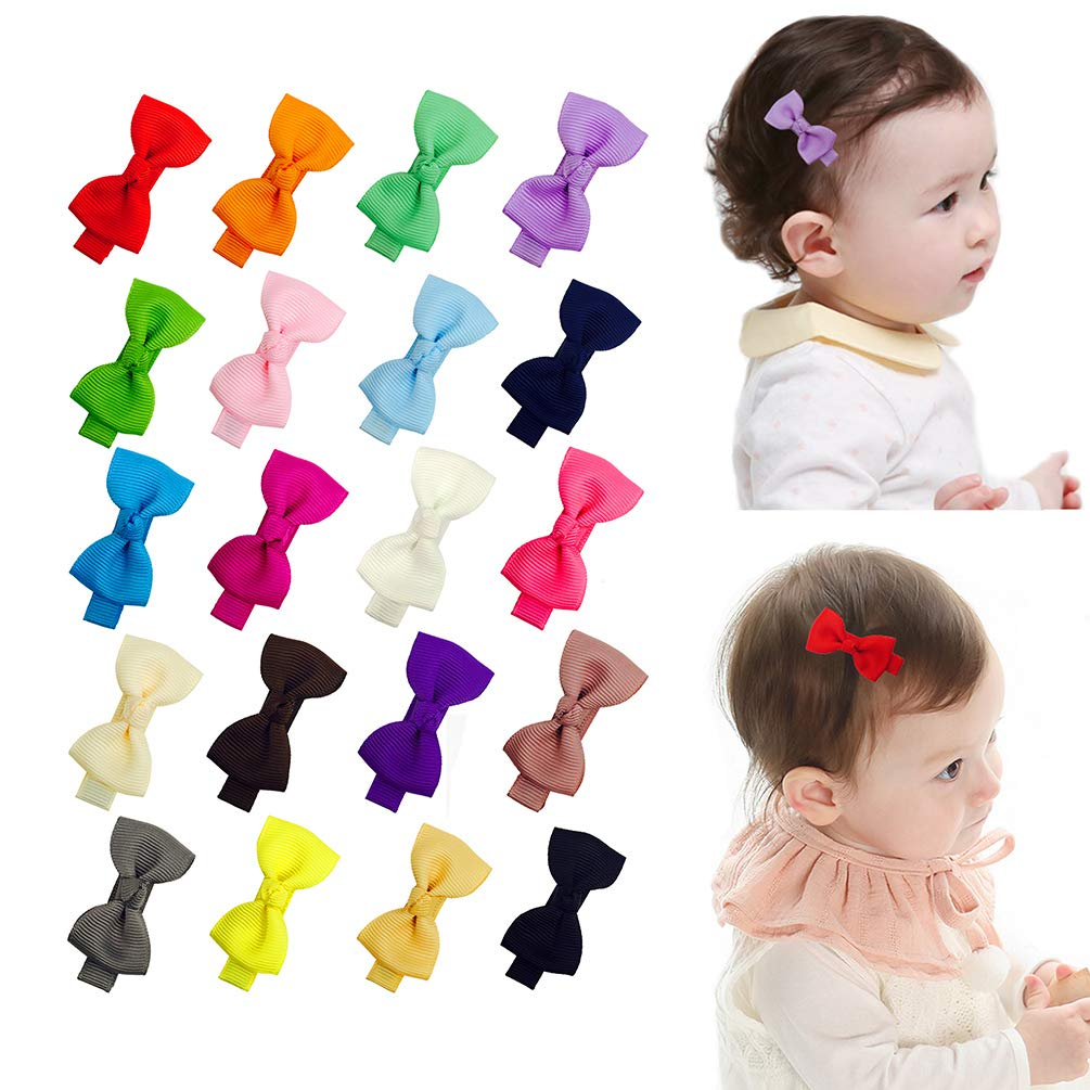 2 Inch Tiny Baby Girls Hair Bows Clips Fully Lined for Babies Fine Hair Infants Toddlers Kids