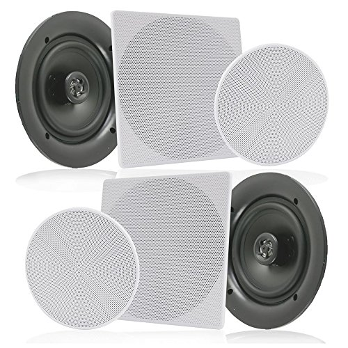 """Pyle Pair 10"""" Flush Mount In-wall In-ceiling 2-Way Speaker System Spring Loaded Quick Connections Changeable Round/Square Grill Stereo Sound Polypropylene Cone Polymer Tweeter 300 Watts (PDIC16106) by Pyle"""