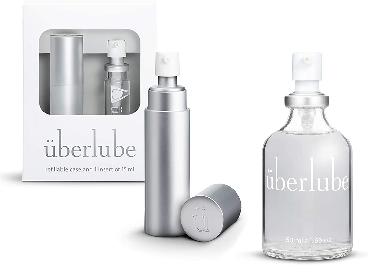 Überlube Lubricant Home and Travel Kit | Latex-Safe Natural Silicone Lube with Vitamin E | Unscented, Flavorless, Zero Residue, Works Underwater - 50ml + 15ml Silver Kit