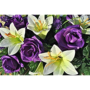 Easter Lilly & Purple Rose Cemetery Saddle for Grave Decoration at Easter or Mother's Day 2