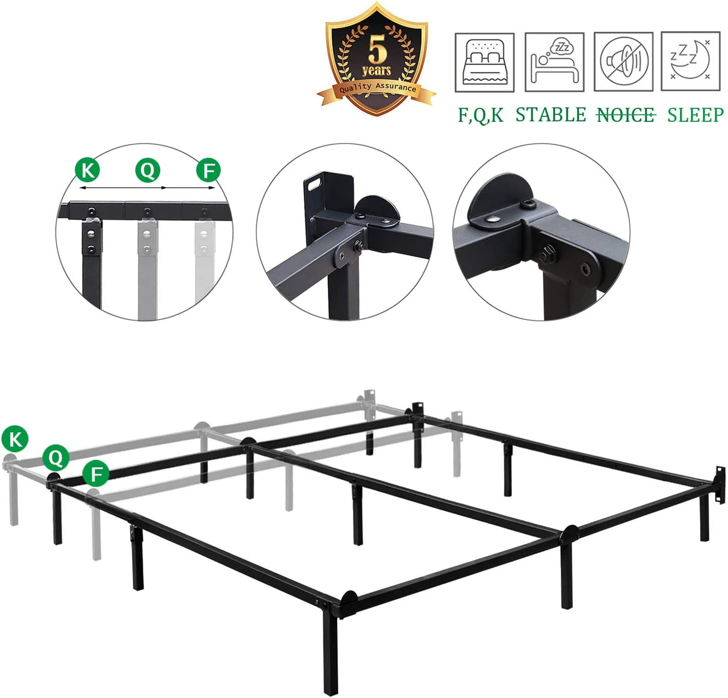 HAAGEEP Queen Size Bed Frame for Box Spring and Mattress Set Adjustable Full Beds King Frames Metal Bedframe Support