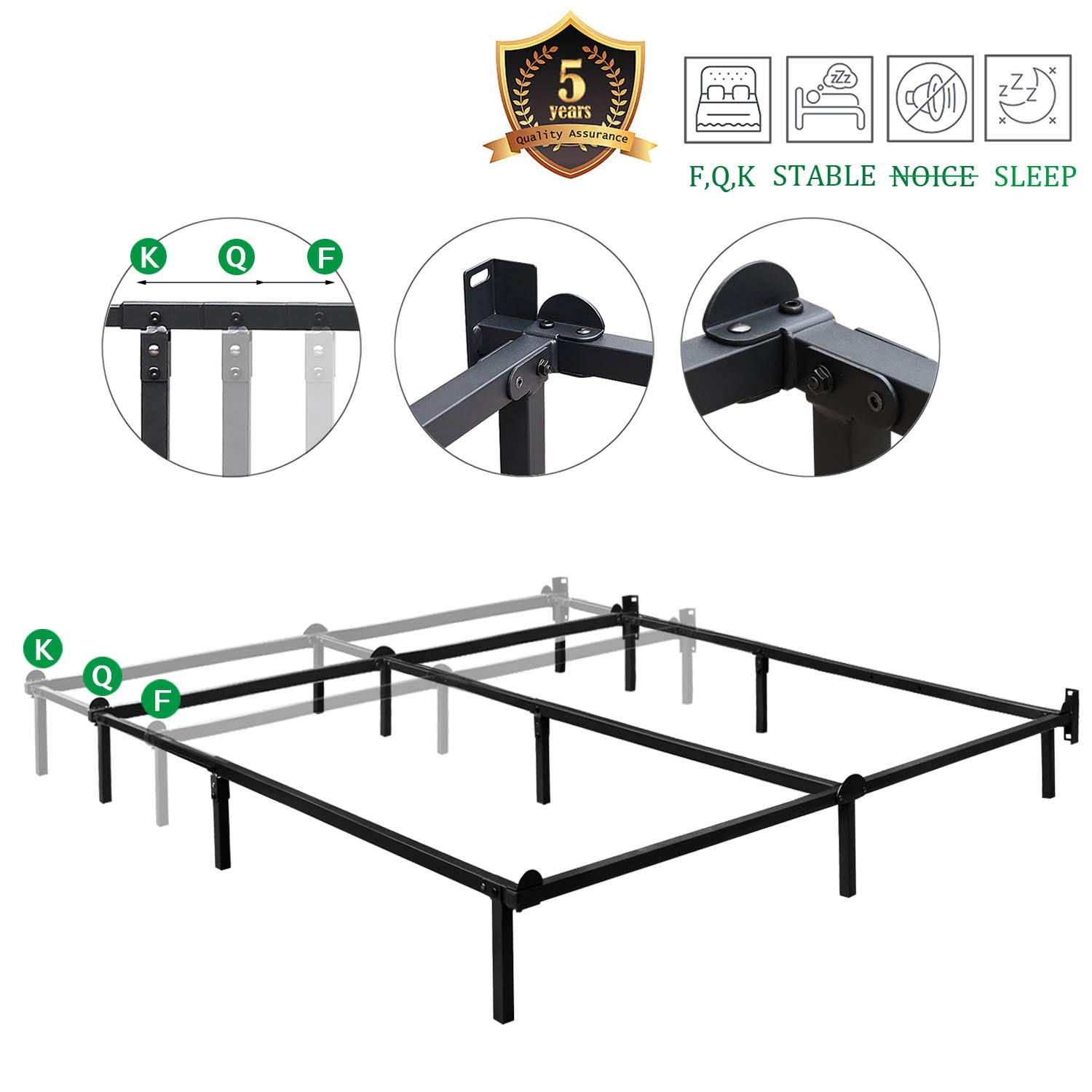 HAAGEEP Queen Size Bed Frame for Box Spring and Mattress Set Adjustable Full Beds King Frames Metal Bedframe Support by HAAGEEP