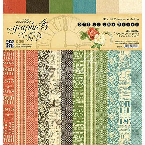 Graphic 45 Off to The Off to The Races 12 x 12-Inch Patterns & Solids Pad