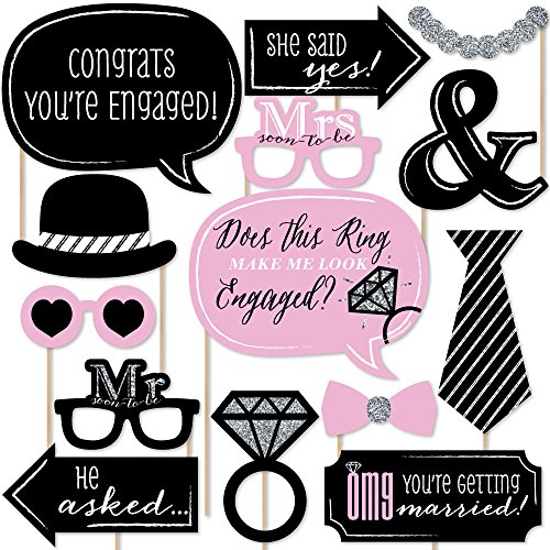 Big Dot of Happiness OMG, You're Getting Married! - Engagement Photo Booth Props Kit - 20 Count -