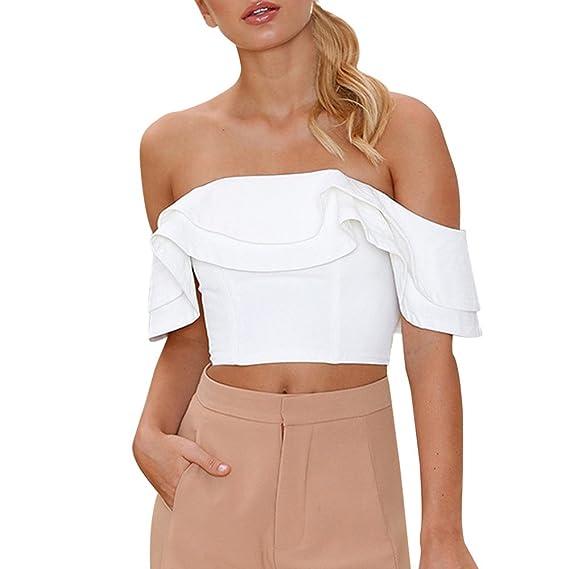 Ropa Camisetas Mujer, Camisas Mujer Verano Elegantes ventilación mangas sexy Ruffle Casual Tallas Grandes Camisetas