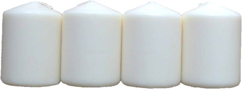 Lot de 4 Bougies Pilier Blanches 8 cm de Haut 5,7 cm de diam/ètre.