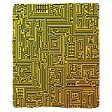 VROSELV Custom Blanket Digital Computer Hardware Circuit Board High Tech Futuristic Web Abstract Illustration Soft Fleece Throw Blanket Marigold Black