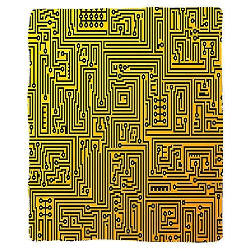 VROSELV Custom Blanket Digital Computer Hardware Circuit Board High Tech Futuristic Web Abstract Illustration Soft Fleece Throw Blanket Marigold Black by VROSELV