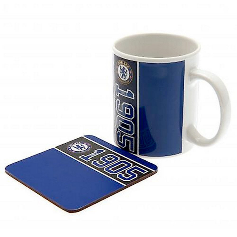 Chelsea FC Established Mug And Coaster Set (One Size) (Multicolored) UTSG12974_1
