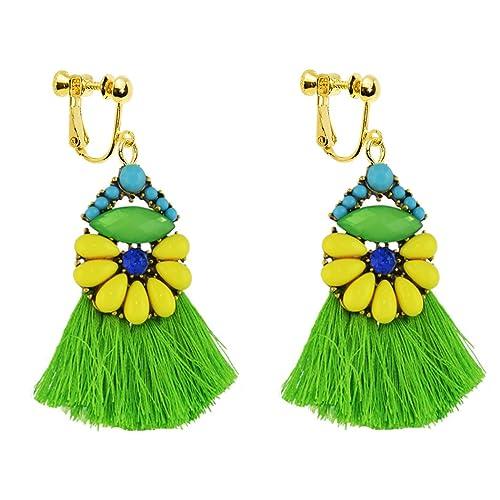 Dangle Clip on Earring Screw on backs Girls Elegant Teens No piercing Bohemia Tassels Thread Boho Green