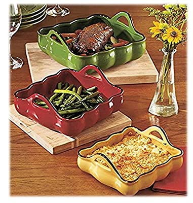 3 Stoneware Casserole / Baking Dishes With Easy-Grip Handles