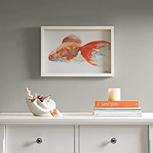 Urban Habitat, Gilbert Goldfish Wall Art Glass, White Frame, Ready to Hang, Modern Contemporary Global Inspired Geometric Painting Living Room Accent Décor, Orange Multi, 12.95 x 18.95