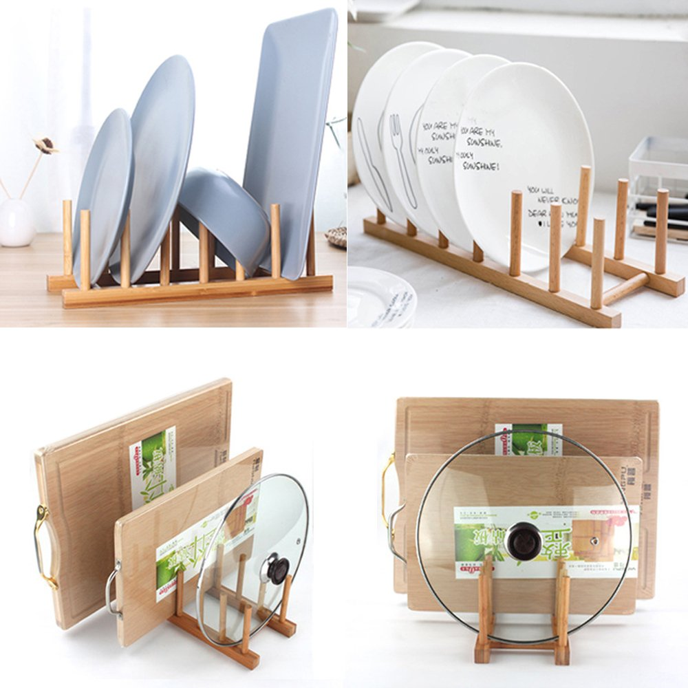 Bamboo Dish Rack Dishes Drainboard Drying Drainer Storage Holder Stand Kitchen Cabinet Organizer for Dish, Plate, Bowl, Cup, Pot Lid, Book (set of 2pcs) by Innerneed (Image #7)
