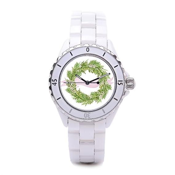 Reloj de pulsera para mujer de cerámica Watercolor rosa barato Relojes de muñeca, corona de cerámica reloj de pulsera para mujer: Amazon.es: Relojes