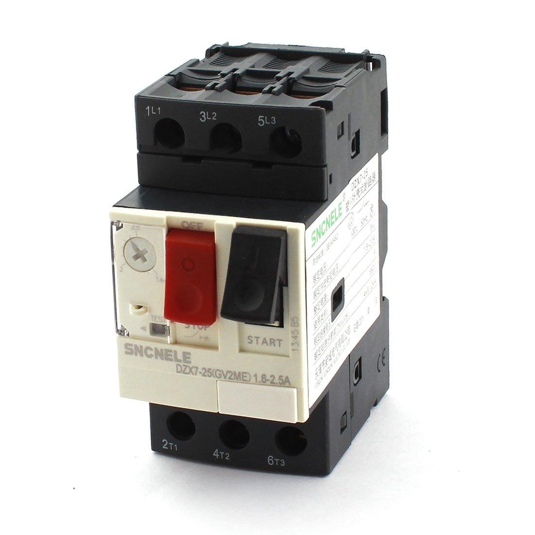 uxcell 1.6-2.5A 690V 6KV ON/OFF Button Black Starting Motor Circuit Breaker
