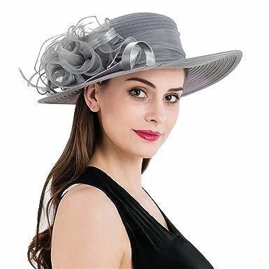 ZYCC Sun Hat Women s Organza Wide Brim Floral Ribbon Kentucky Derby Church  Dress Wedding Hat ( 92932269874c