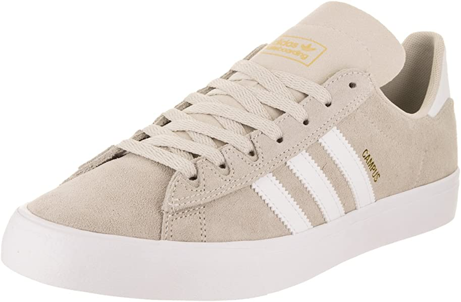 adidas Skateboarding Men s Campus Vulc II Chalk White Footwear White Gold  Metallic 5 D d5fb9a3f4207