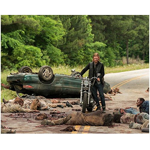Austin Amelio 8 Inch x10 Inch PHOTOGRAPH The Walking Dead (TV Series 2010 - ) Pushing Motorcycle Around Bodies on Road kn