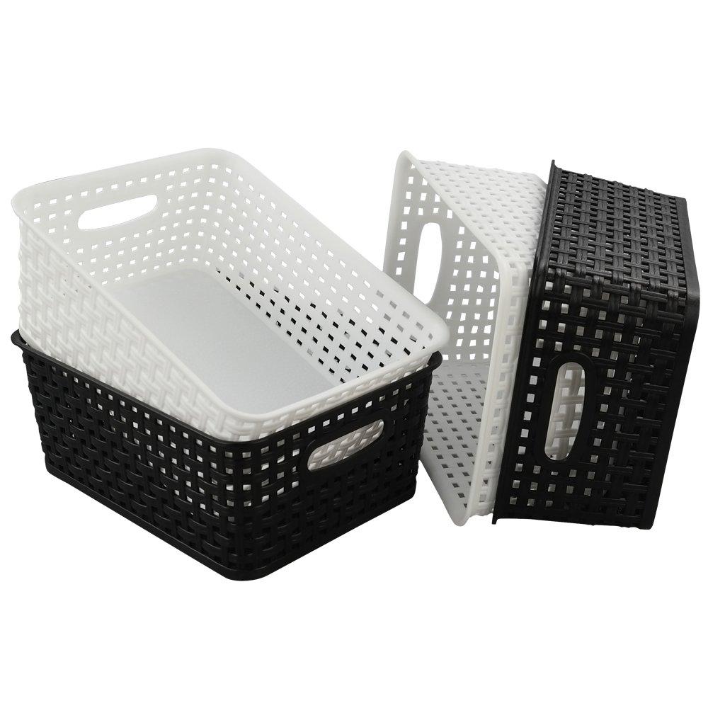 HOMMP 4-Pack Plastic Basket, Plastic Weave Storage Storage Organizer Basket/Bin Homeproduct