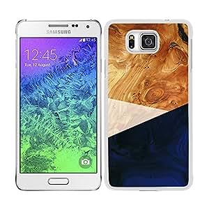 Funda carcasa para Samsung Galaxy Alpha diseño efecto madera color azul borde blanco