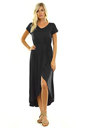 ee49857d90 Women s V-Neck Tulip Wrap Maxi Dress at Amazon Women s Clothing store