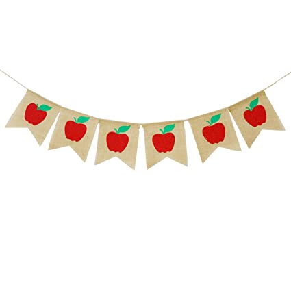 Back to school banner. Apples burlap fall classroom
