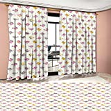 Baby Window Curtain Drape Cartoon Style Birds with Fancy Funny Animals with Accessories Top Hat Flowers Decorative Curtains For Living Room Pink Grey Marigold