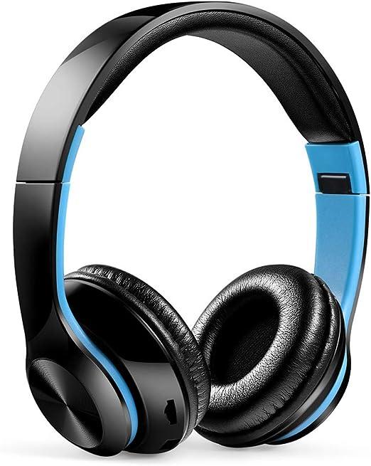 BJGUG Auriculares Plegables InaláMbricos Bluetooth Auriculares MúSica Deportes Radio FM para iPhone, Pc, Xbox One, Android, Auriculares EstéReo para Juegos De Voz,Blackblue: Amazon.es: Hogar
