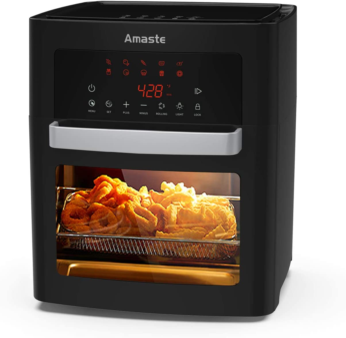 Amaste Air Fryer, 16 Quart XL Size, 1500-W Electric Airfryer, 10-in-1 Smart Cook Presets with LED Digital Touchscreen Rotisserie Oven, Countertop Oven with Adjustable Timer & Temp, Freidora de Aire with Dishwasher Safe Accessories & Recipe Included, Black