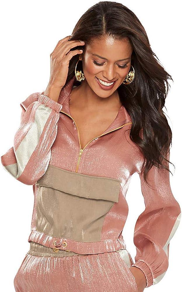 Jordan Shimmery Satin 3//4-Zip Jacket K