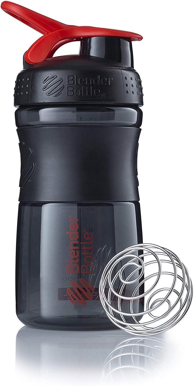 BlenderBottle SportMixer Tritan Grip Shaker Bottle, Transparent Black/Red, 20-Ounce