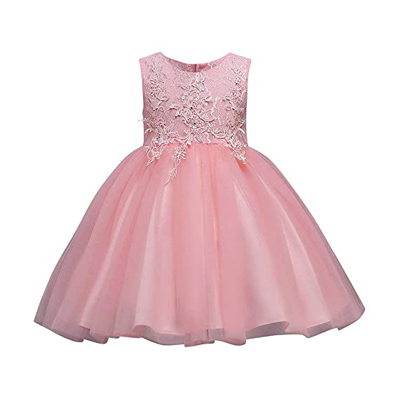 Image Unavailable. Image not available for. Color  Dressin 18M-8T Flower Girl  Dress Solid Lace Princess Sleeveless Tutu Party ... 24dca4261818