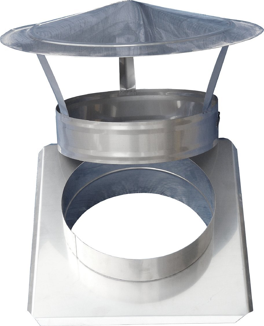 Regenhaube aus Edelstahl V4A Rauchrohr mit Platte Rohrurchmesser 180 mm Schornsteinaufsatz