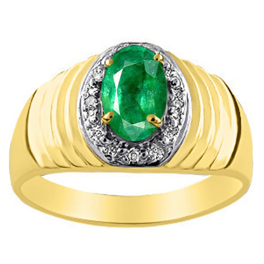 Mens Diamond /& Emerald Ring set in Sterling Silver or Yellow Gold Plated