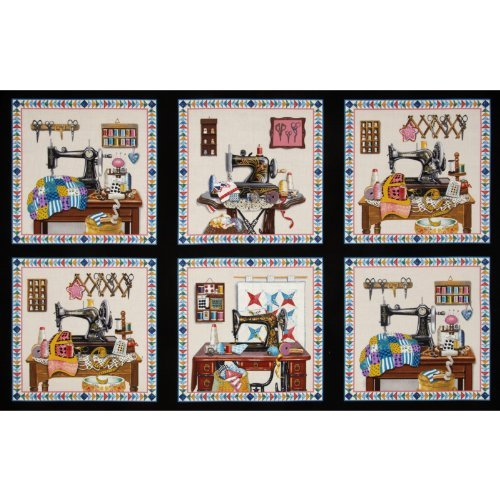 Elizabeth's Studio Stitch In Time Sewing Patchwork Panel Black