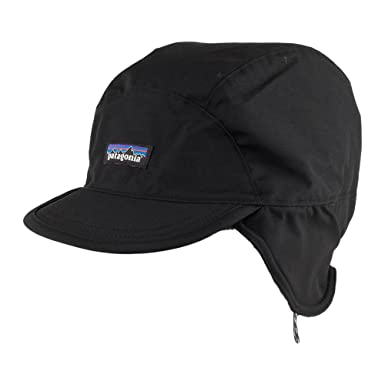 027b48596544e Patagonia Hats Shelled Synchilla Water Resistant Cap with Earflaps - Black  Large X-Large  Amazon.co.uk  Clothing