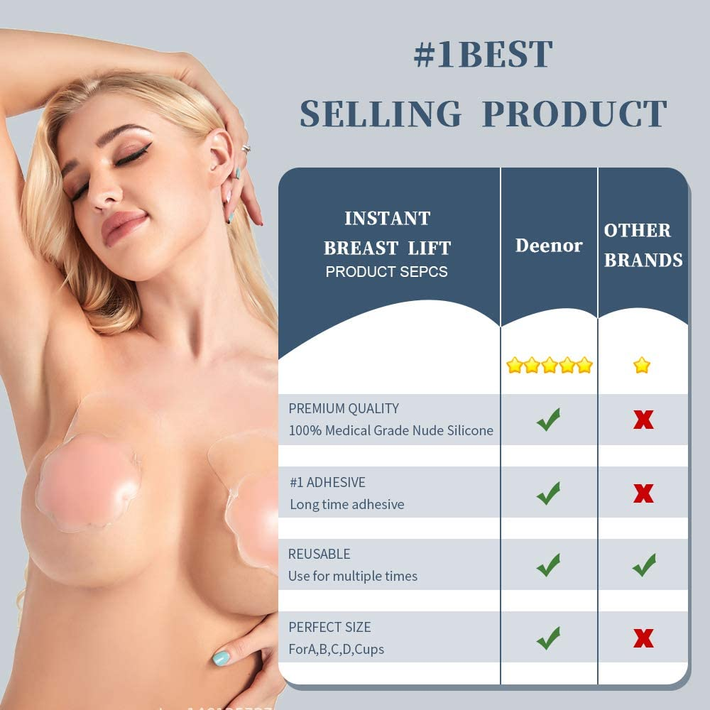 Deenor Silicone Breast Lift Bra Invisible Backless Bra Reusable Sticky Adhesive Strapless Bra Women Stick On Bra for Lifting Cups
