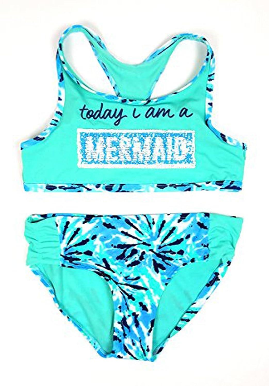b70e6c643c28d Justice Girls Bikini Bathing Suit Swimsuit Multiple Styles & Sizes (Mermaid/Unicorn  Flip Sequin, 14) …