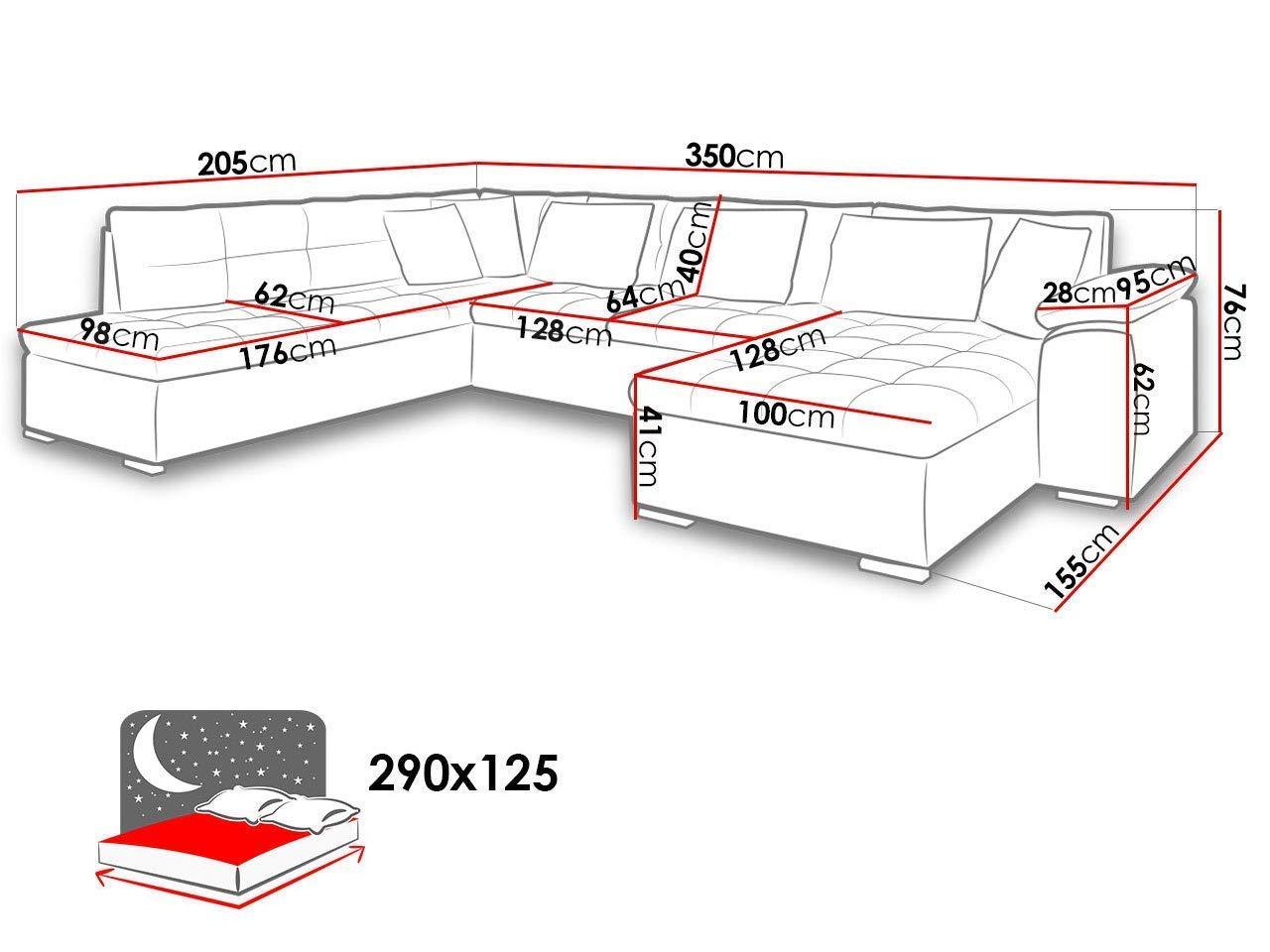 Mirjan24 Sofá Niko Enzo. Esquina sofá con función de Dormir ...