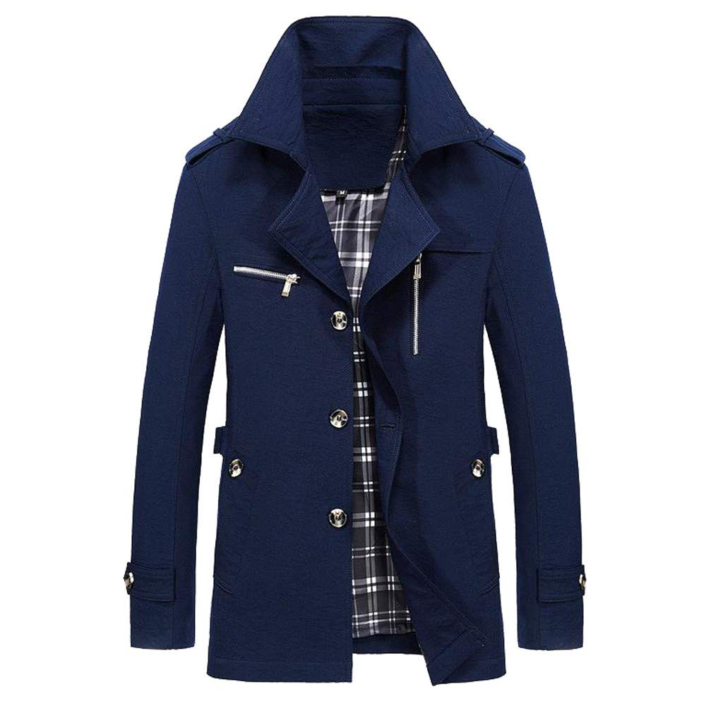 YOcheerful Men Jacket Coat Winter Warm Outwear Overall Solid Bomber Jacket Overcoat Cardigan Autumn Parka (Dark Blue,S)