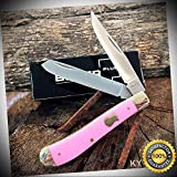 BOKER PLUS 3 3/4'' TRAPPER Pocket Knife Vintage Style PINK Handles BO294P - Outdoor For Camping Hunting Cosplay