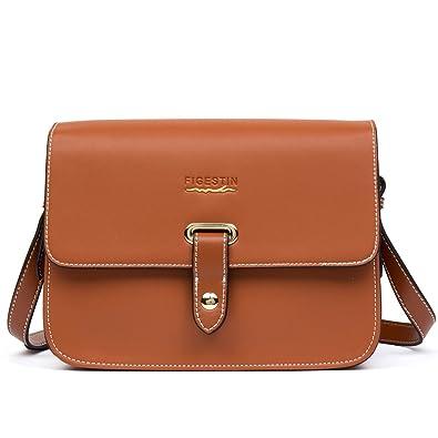 24407cde784 Women Leather Crossbody Bag FIGESTIN Mini Retro Shoulder Message Purse Bags  for Ladies