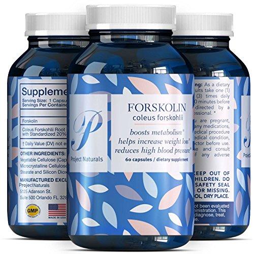 Pure Forskolin Extract Supplement - Premium Fat Burner + Natural Antioxidants - Weight Loss - Metabolism - Appetite Suppressant - trim + slim - 250 mg Fuel Capsules for men + Women - Project Naturals