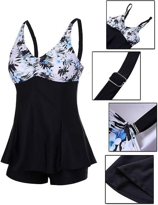 FeelinGirl Donna Push-up Bikini Set Halter Costumi da Bagno Un Pezzo con Gonna Integrata