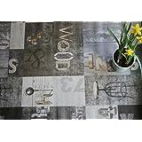 WJDhome Nappe en toile cirée\PVC vintage avec motif de qualité  - facile à nettoyer - 140 x 200cm - Gris foncé