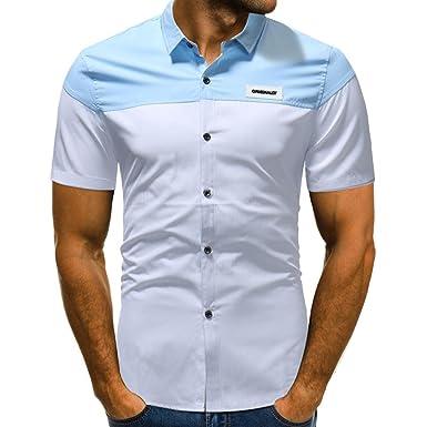 8c8bd272713a Longra Herren Kontrast Basic Hemden Businesshemd Freizeithemd aus Baumwolle  Kentkragen Hemd Slim Fit Casual Shirts Ideal